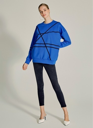 NGSTYLE Şerit Detaylı Sweatshirt Saks